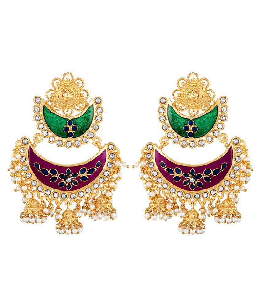 Asmitta Luxurious Chandbali Shape With Meenakari Work Gold Plated Jhumki Earring For Women