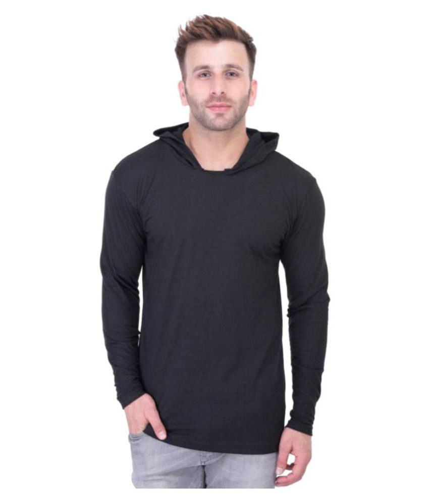 BI FASHION Black Hooded T-Shirt Pack of 1