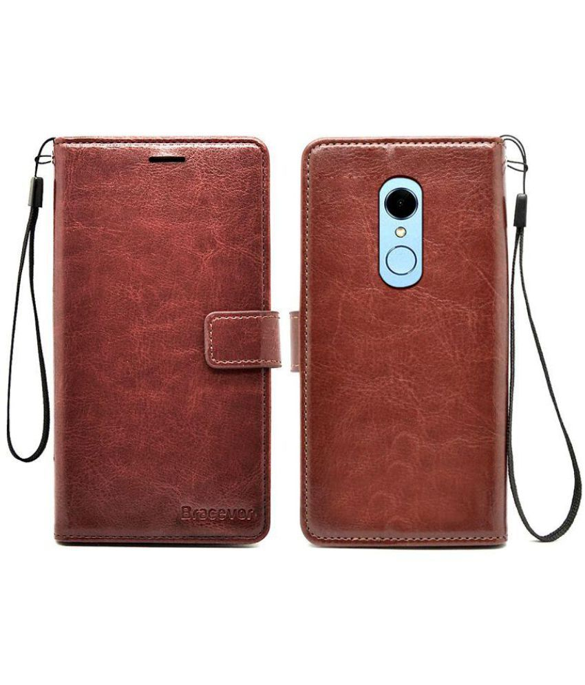 new products 44f4f ad107 Xiaomi Redmi Note 5 Flip Cover by Bracevor - Brown