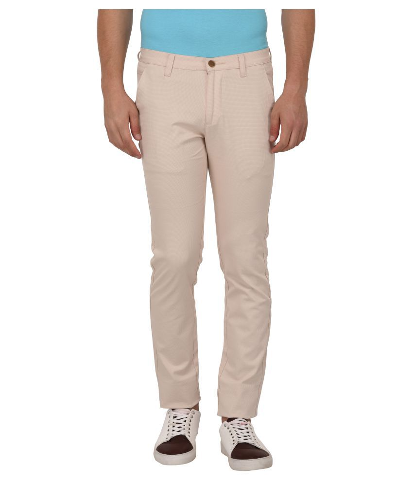 AFOX Cream Slim -Fit Flat Trousers