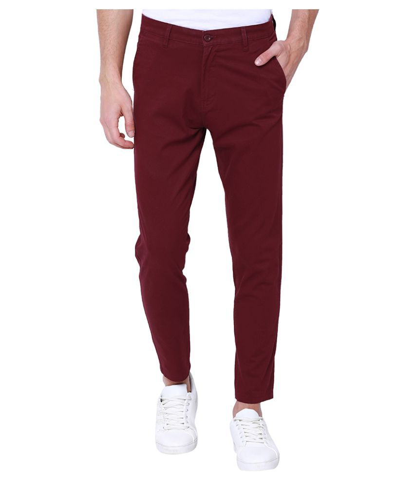 Cherokee Maroon Tapered -Fit Flat Chinos