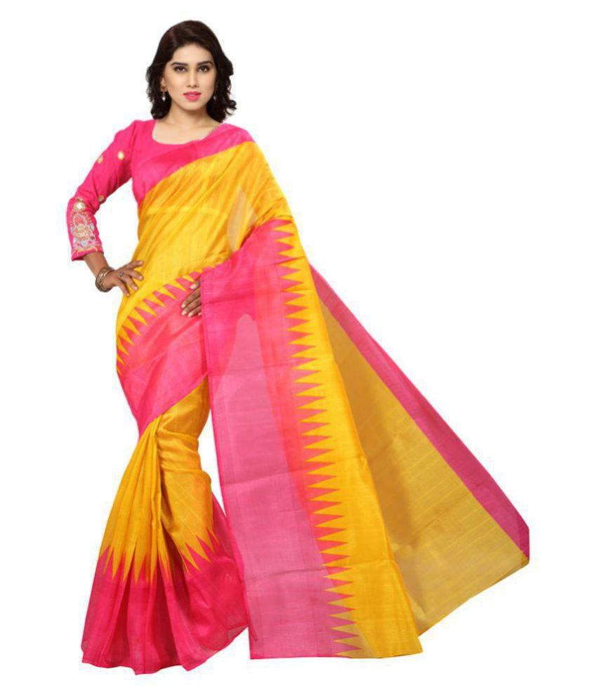 Mayur Silk Mills Yellow Bhagalpuri Silk Saree