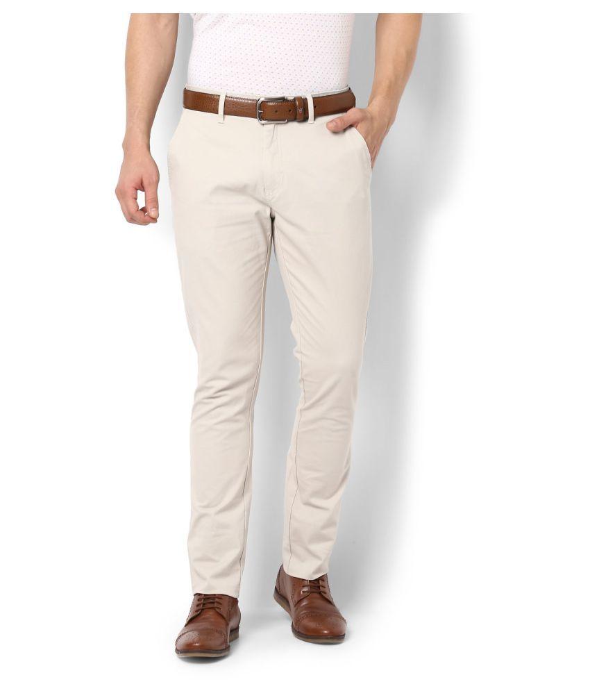 Allen Solly Beige Slim -Fit Flat Trousers