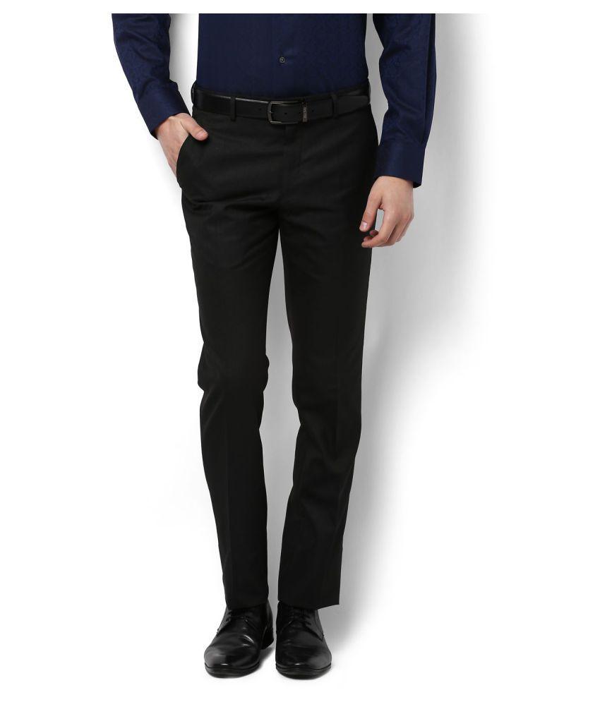 Allen Solly Black Slim -Fit Flat Trousers