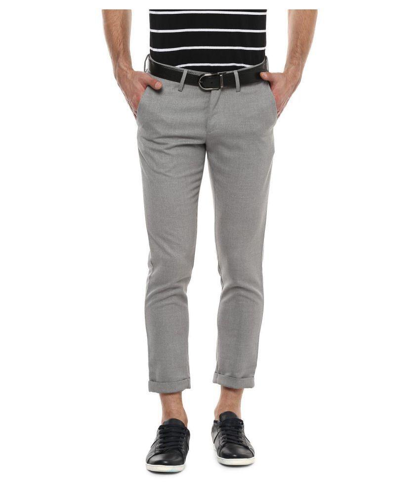 Allen Solly Grey Regular -Fit Flat Trousers