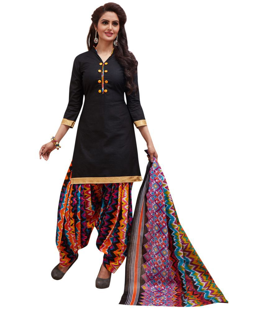 Ishin Black Cotton Dress Material