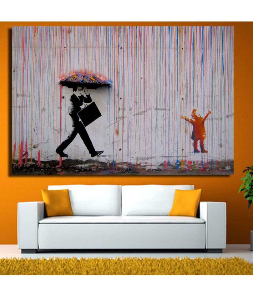 Men with Umbrella Canvas Painting without Frame AHDCP-06