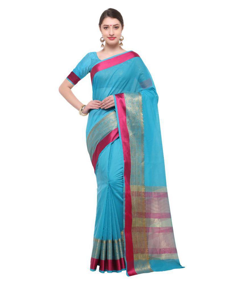 Varkala Silk Sarees Turquoise Cotton Blend Saree