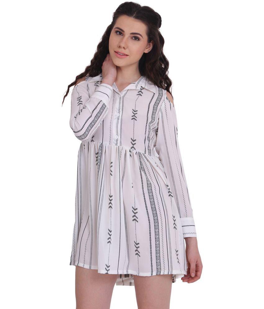 Amiyra Polyester White Dresses