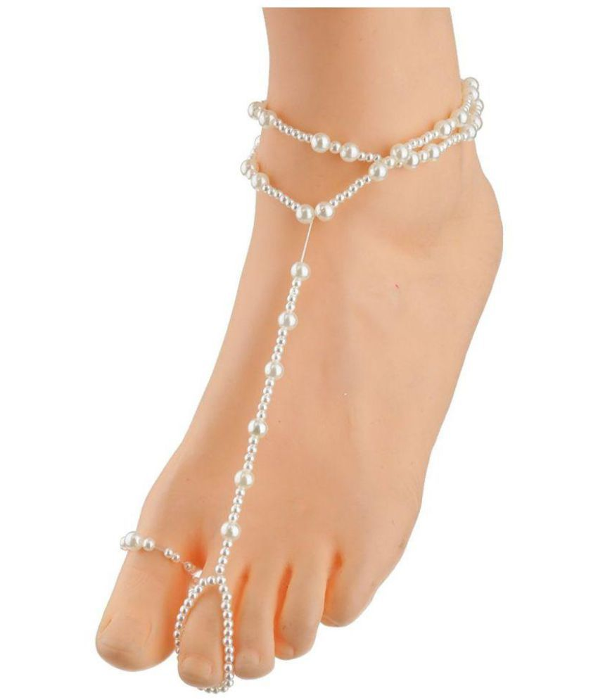 Bold N Elegant Double Layer Pearl Anklet With Toe Ring