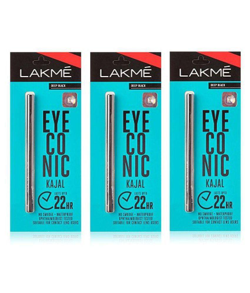 Lakme. Eyecon Pencil Kajal Eyes 0.35 gm Pack of 3