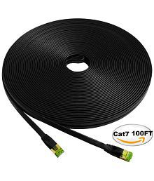 Cat7 STP Ethernet Cable 100ft Flat, iTLTL Shielded Stranded Copper Network Cable Slim Interenet Patch Wire for Modem/ Router/ LAN