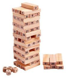 AZI 51 pcs Wooden Tower Building Blocks 4pcs Dice Wooden Toy