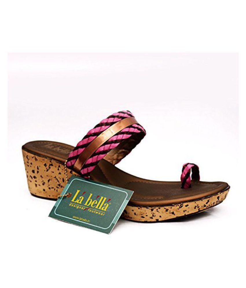 La Bella Pink Wedges Heels