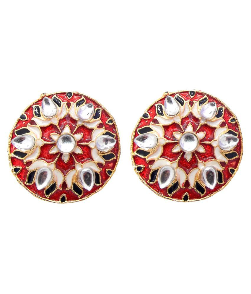 NAMI Kundan Red White Meena Lotus Handpainted Studs Earrings