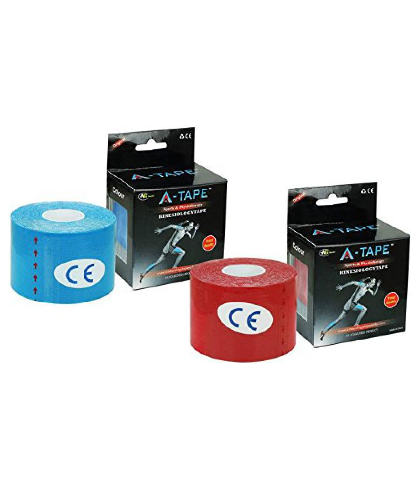 A-TAPE Kinesiology Tape Pack of 2 Knee, Calf & Thigh Support (Multicolor) Free Size