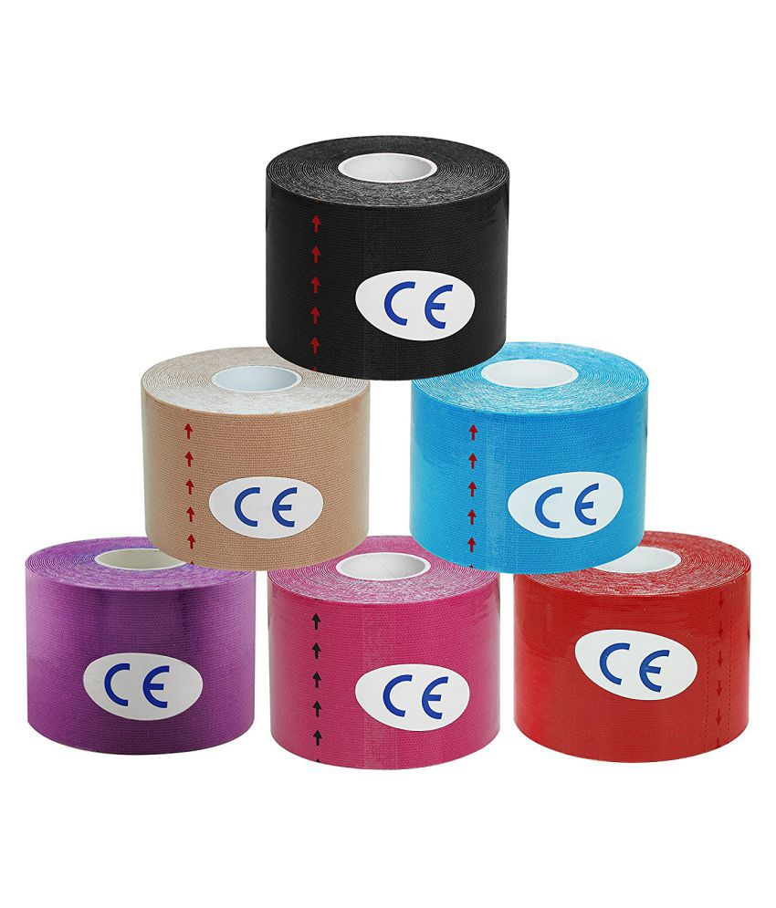 A-TAPE Kinesiology Tape Pack of 6 Knee, Calf & Thigh Support (Multicolor) Free Size