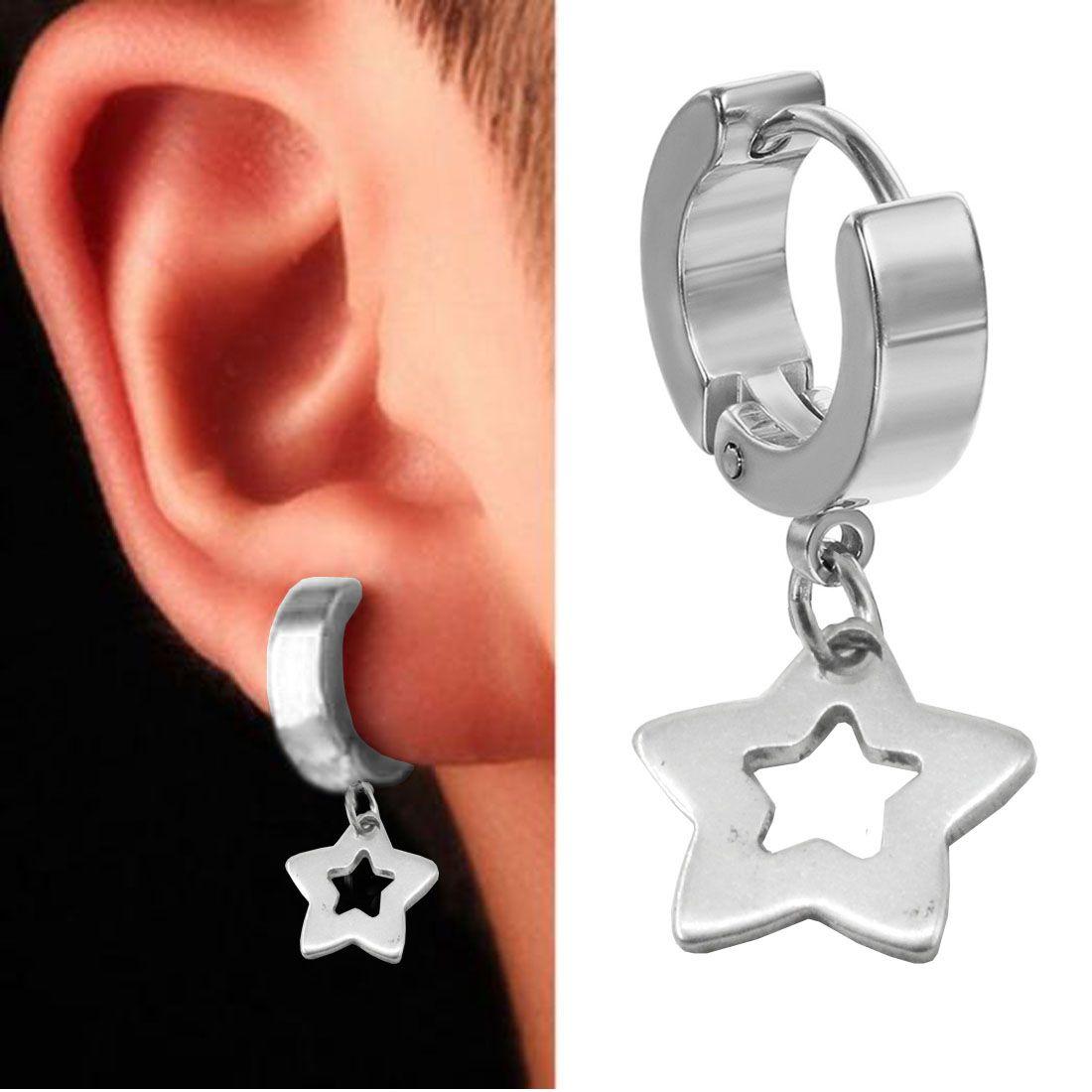 3e713162f ... Sullery New Arrival Star Silver Stainless Steel Drops Earring For Men  Women ...