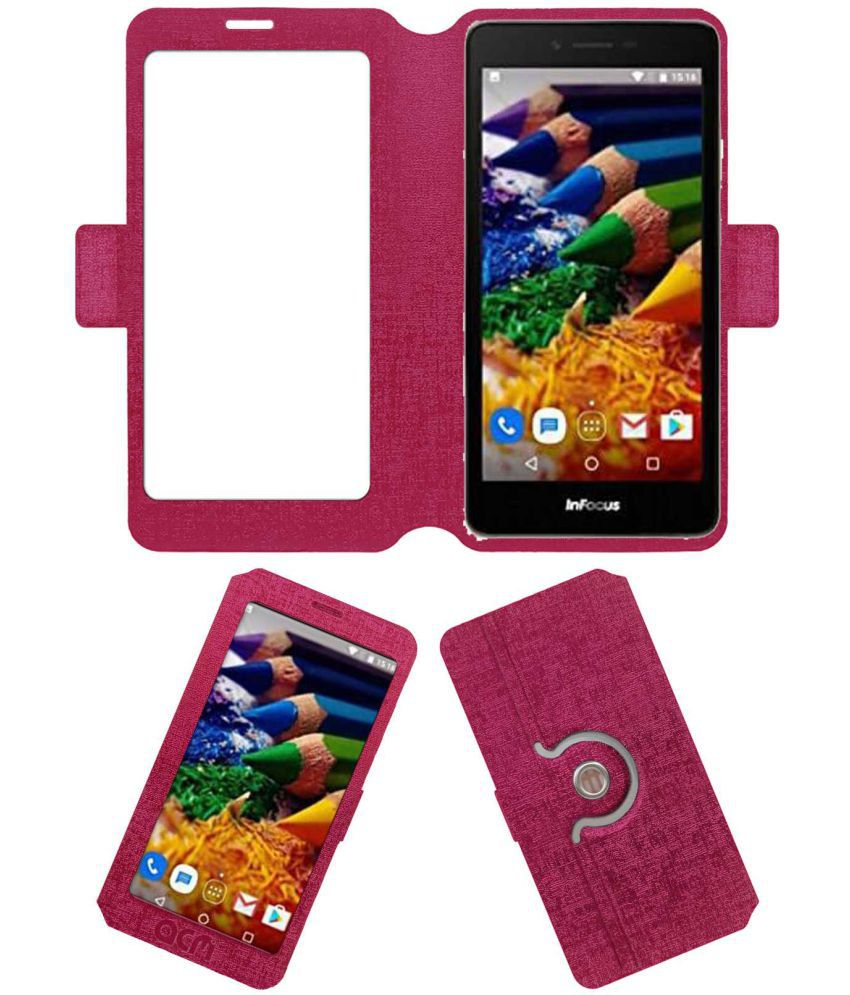 InFocus A1s Flip Cover by ACM - Pink