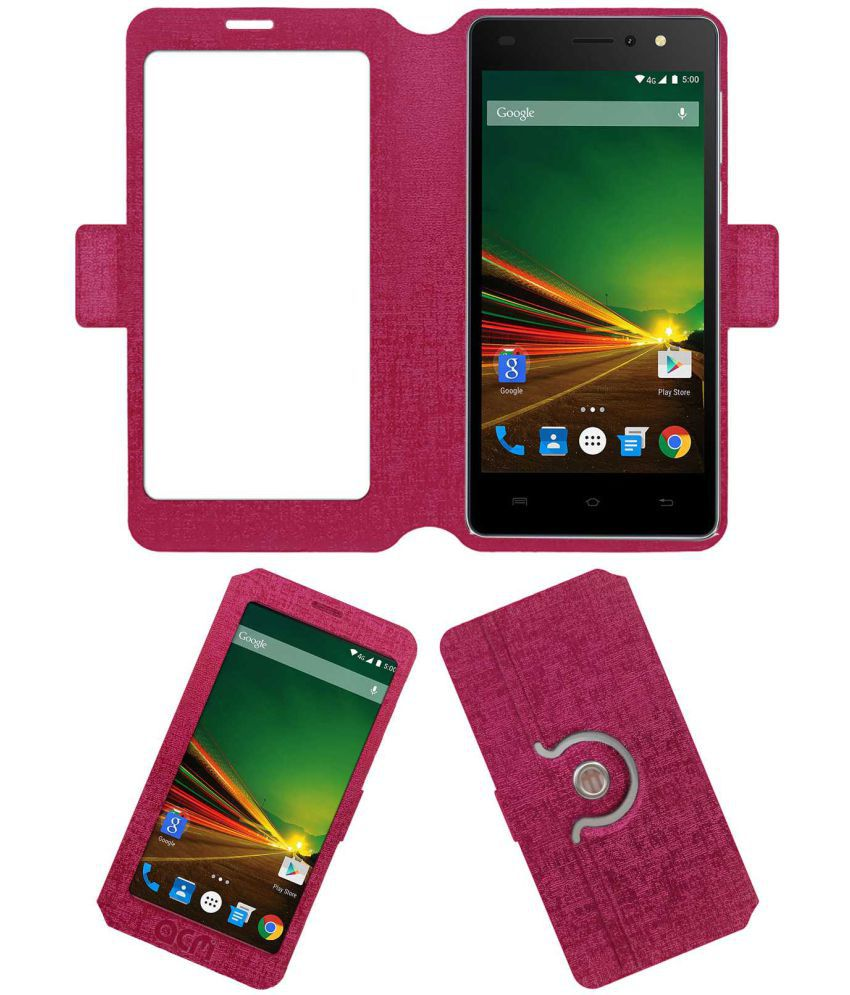 Lava A71 Flip Cover by ACM - Pink
