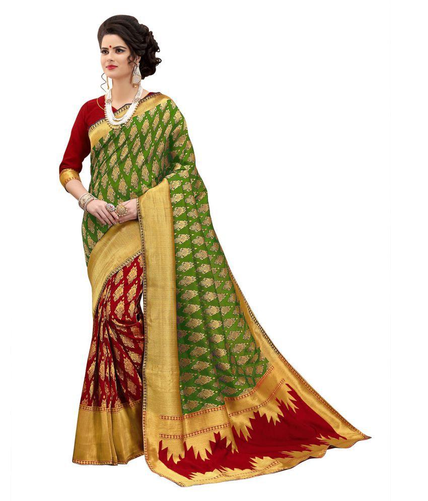 G J Kheni Brown and Beige Banarasi Silk Saree