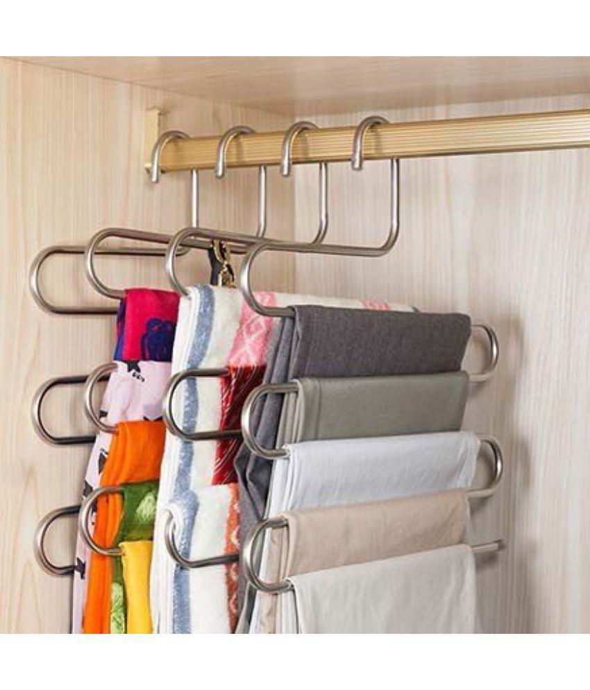 YUTIRITI 1Pc 'S' Shape Stainless Steel 5 Layer Pant Cloth Drying Stand Hanger/Cloth Rack Organiser, Cupboard Organiser Space Saving Hanger