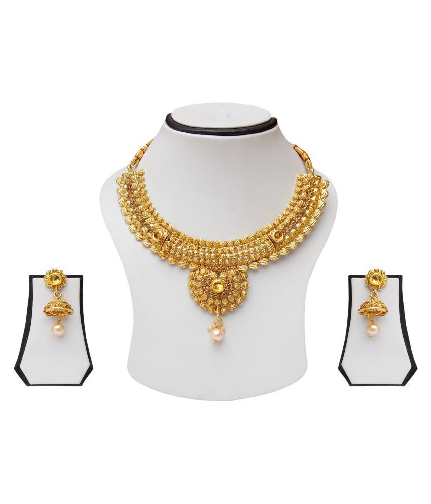 simbright gold  tradional necklac e set