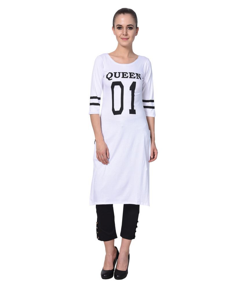 2f3246c229 MDS Jeans White Lycra Straight Kurti - Buy MDS Jeans White Lycra Straight  Kurti Online at Best Prices in India on Snapdeal