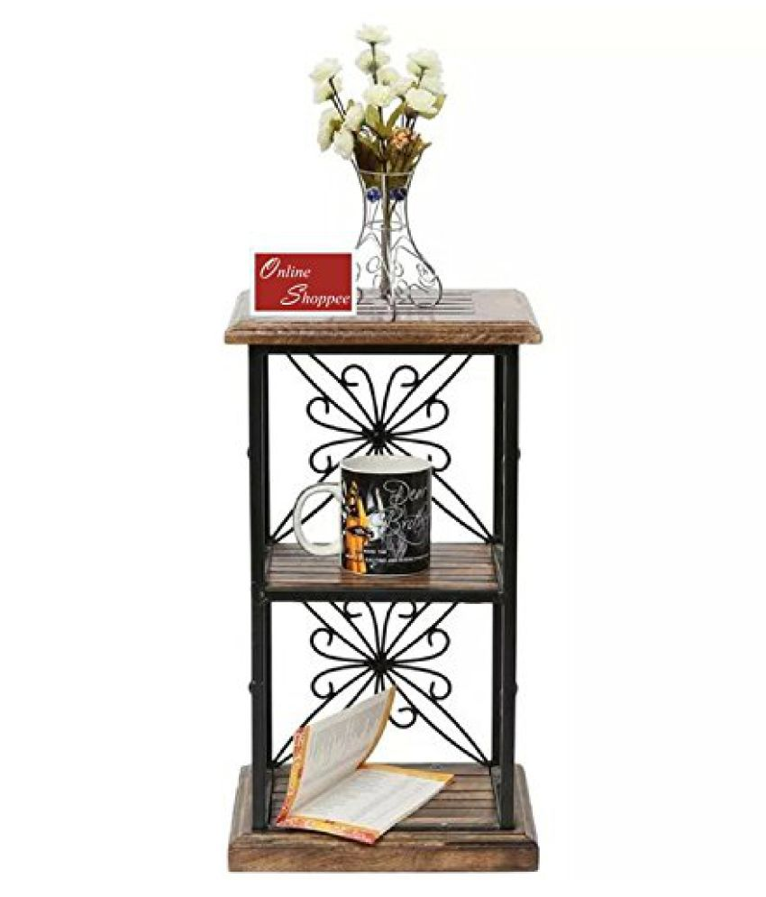 OnlineWood Iron Book Shelf Showcase End Table With 2 Shelves