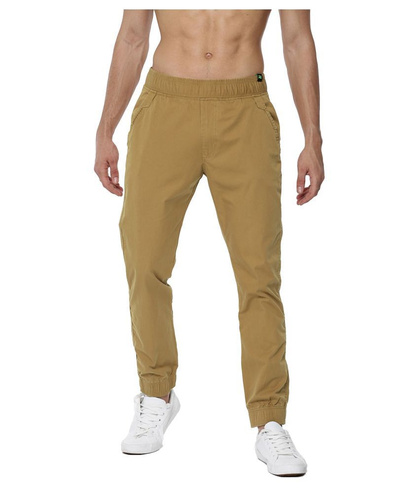 FIFTY TWO Khaki Regular -Fit Flat Joggers