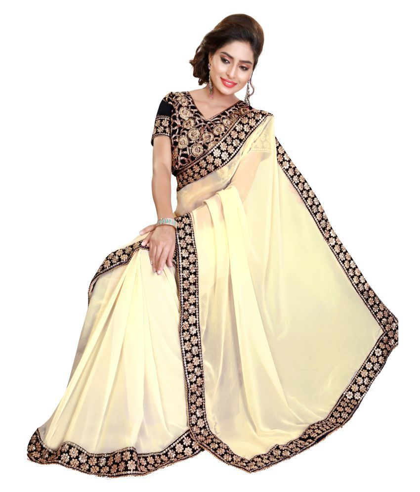 23630bc86b Nivah Fashion White and Beige Georgette Saree - Buy Nivah Fashion White and  Beige Georgette Saree Online at Low Price - Snapdeal.com