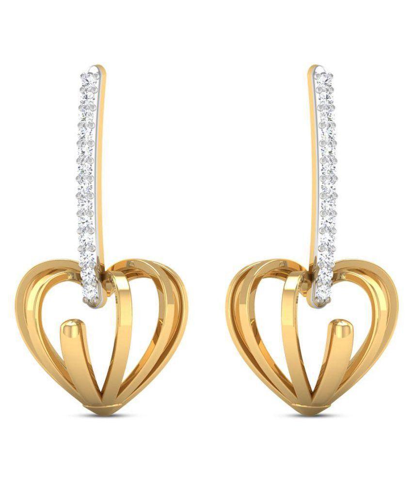 Zaamor Diamonds 18k BIS Hallmarked Yellow Gold Diamond Hoop