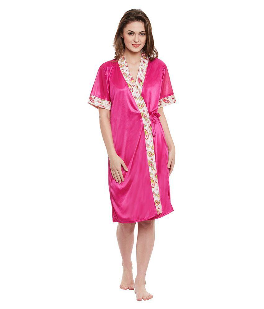 Clovia Satin Robes - Pink
