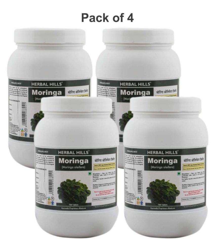 Herbal Hills Moringa   Value Pack 700 Tablets  Pack of 4  Tablets 500 mg