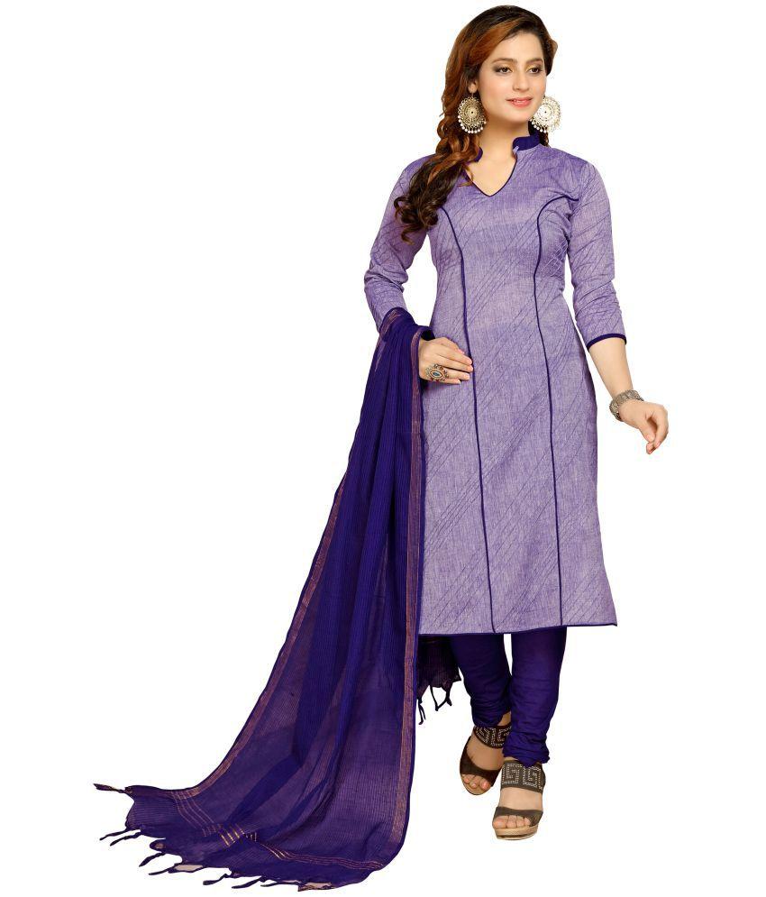 Minu Purple Cotton A-line Stitched Suit