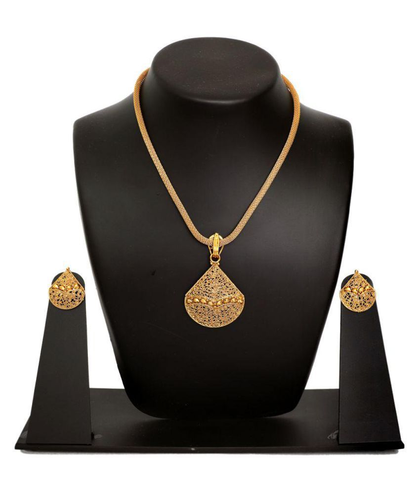 Sanyal Pandel Set Golden Colour with Golden Stripe Oval Shape, High-Quality Polished