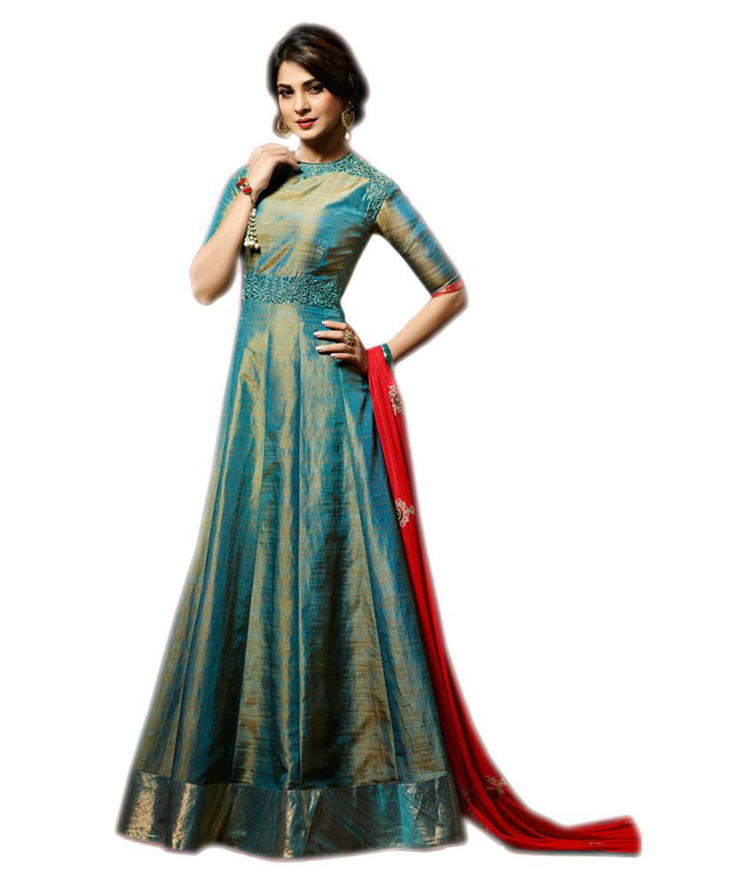 8180f0405d ... free New Designer Jennifer Winget Teal Blue Banarasi Silk Anarkali Suit  for Party Wear Girls, ...