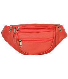 Aspen Leather Red Waist Bag for Travelling