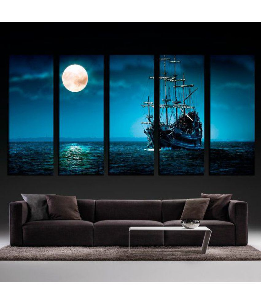 Night Moon Ship traveling Canvas Painting without Frame AHDCP-17