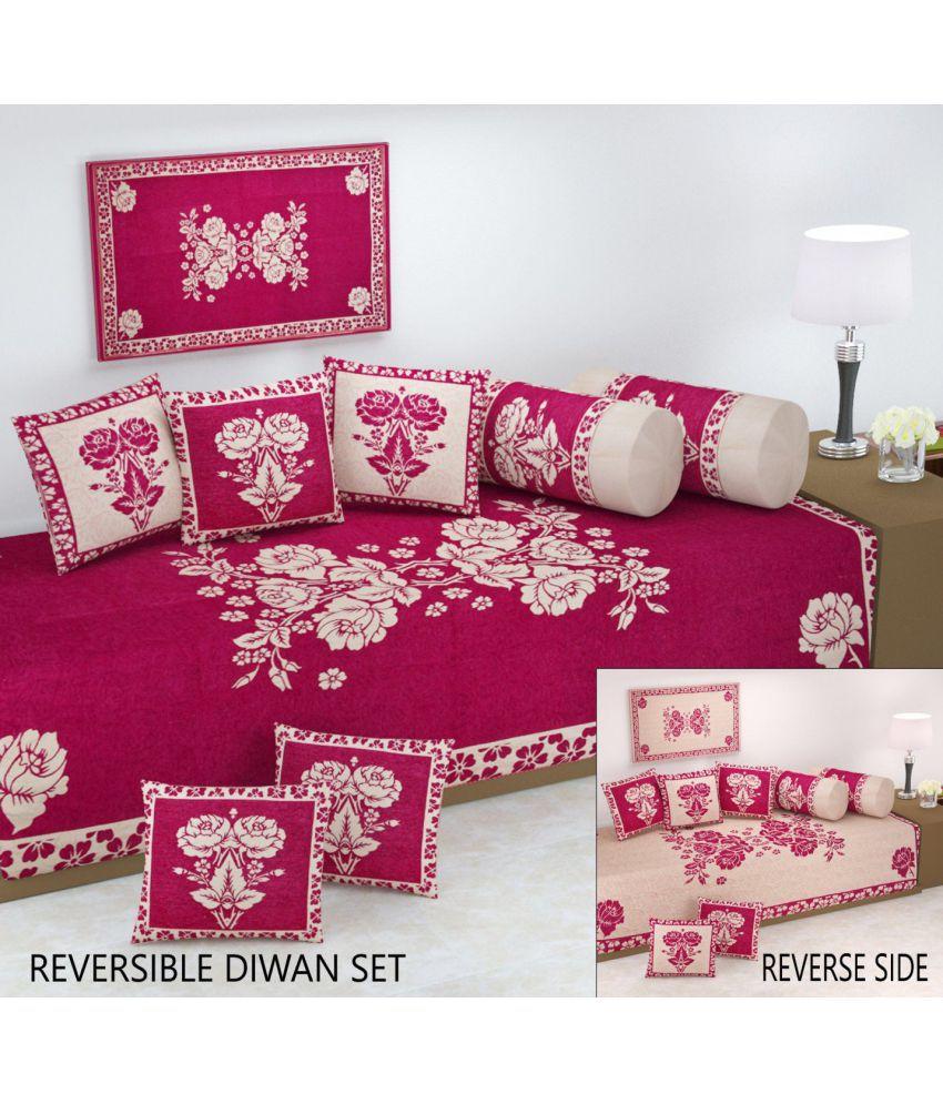 Fresh From Loom Velvet Pink Floral Diwan Set 8 Pcs