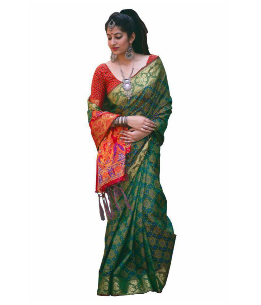 Multi Retail Green Banarasi Silk Saree