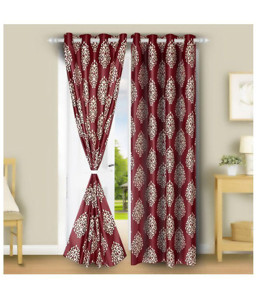 gDecor Set of 2 Door Eyelet Curtains Floral Maroon