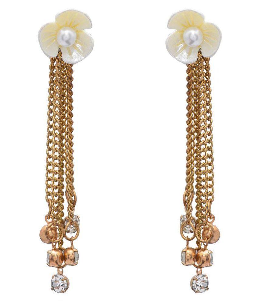 Gold flower design stud earrings with gems
