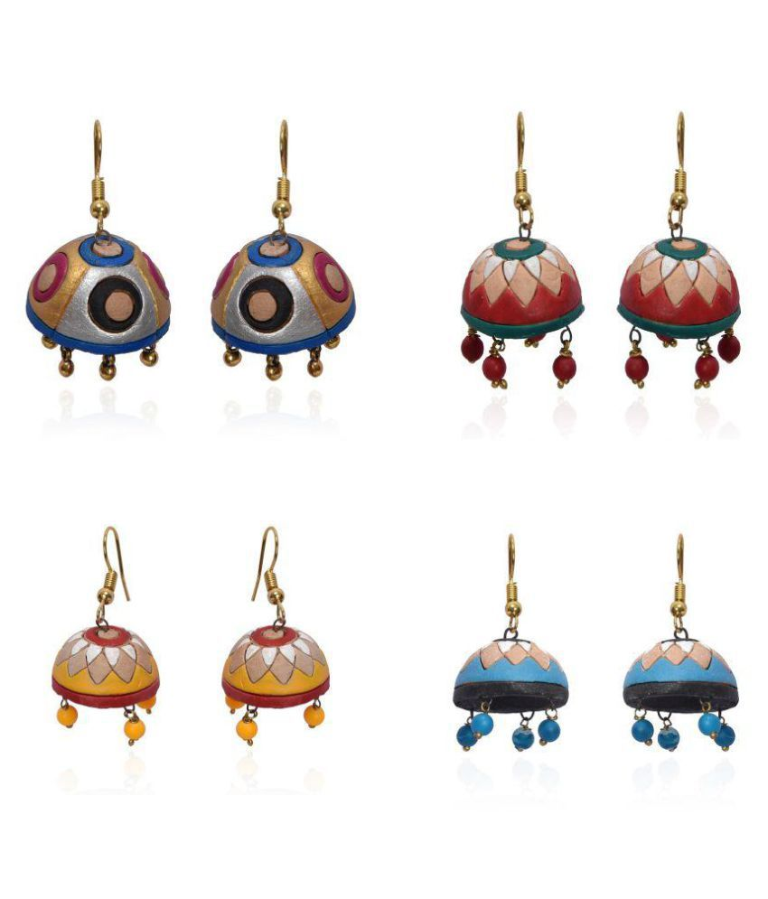 RAI COLLECTION  Terracotta Jhumka Sets of Four Jewel for Women