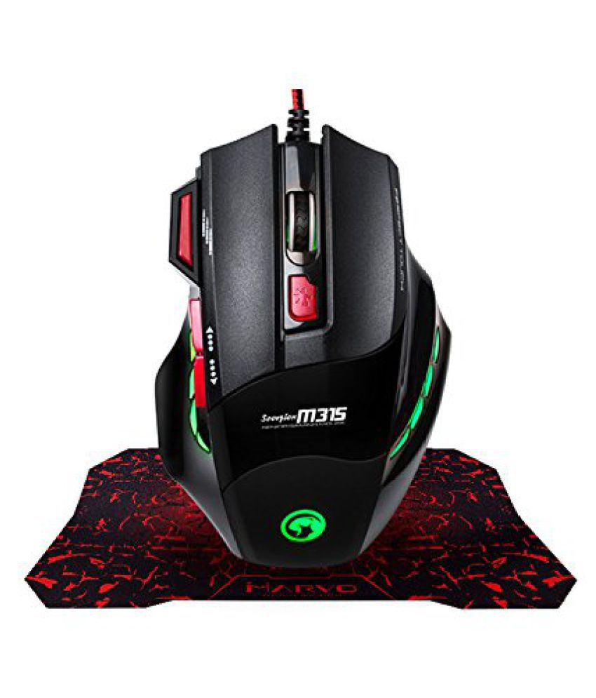 cdb7148c92b Buy MARVO Gaming Mouse, Fire Key 7 Button USB Ergonomic Wired computer Mouse  and Mouse Pad 3-Color LED Light PC computer Mouse For PC/ Online at Best  Price ...