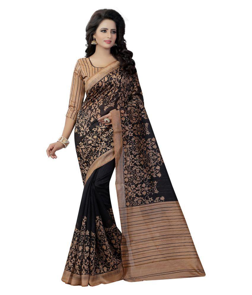 Navanya Couture Black Art Silk Saree
