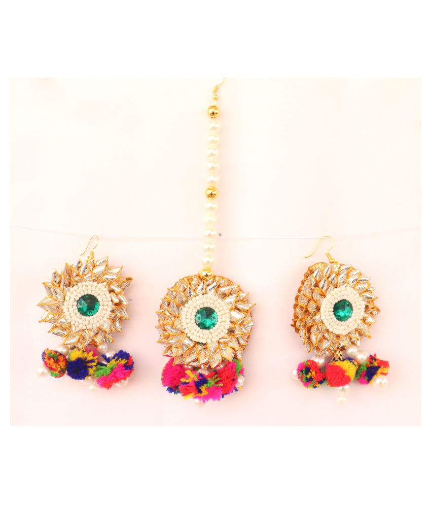 Floret Jewellery Multicolor Pom Pom Gota Patti Earrings & Maang Tika For Women & Girls (Mehandi/Haldi/Bride/Wedding/Fashion)