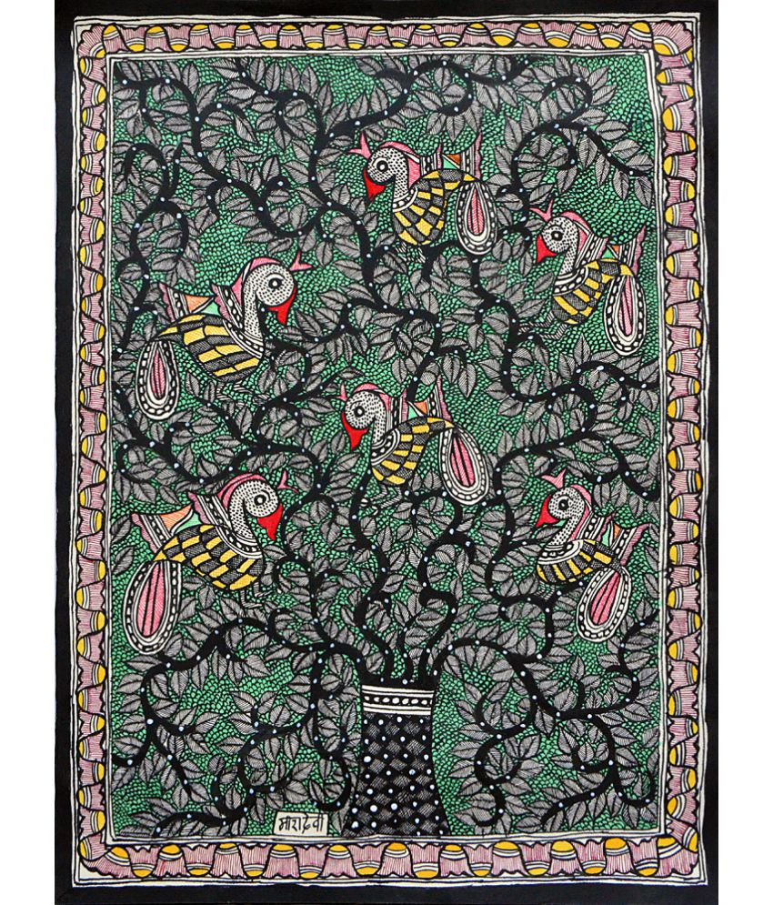 Harmony Arts Online Original Madhubani Painting by Local Tribal Artist Canvas Hand Paintings Without Frame