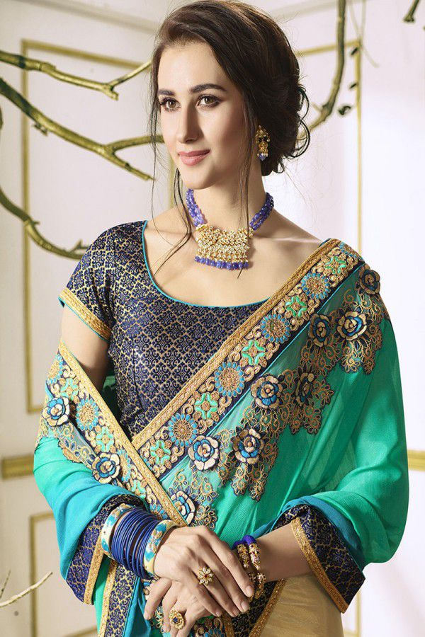 4587e79754 IndianEfashion Green and Beige Georgette Saree IndianEfashion Green and Beige  Georgette Saree ...
