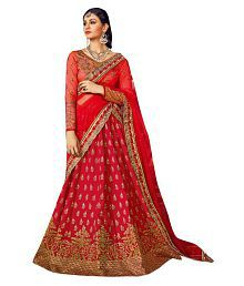 db90883c7 Quick View. Shaily Retails Red and Brown Chanderi Straight Semi Stitched  Lehenga